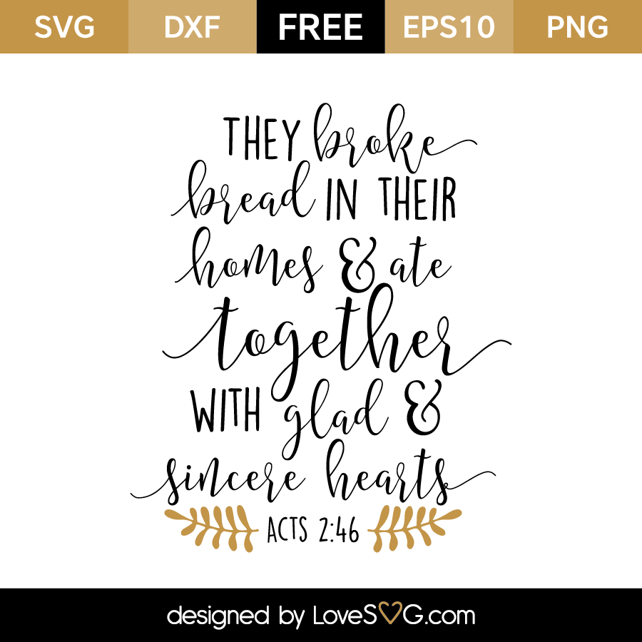 Free SVG cut files - Acts 2:46