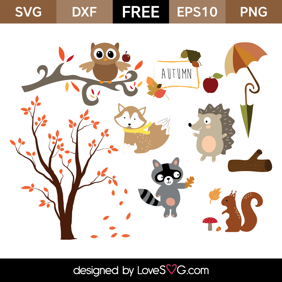 Free SVG cut files - Autumn Forest Animals