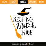Free SVG cut file - Resting Witch Face