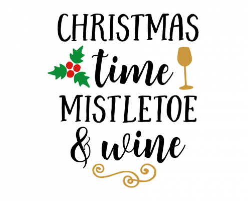 Free SVG cut file - Christmas time mistletoe and wine