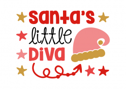 Free SVG cut file - Santa's little Diva