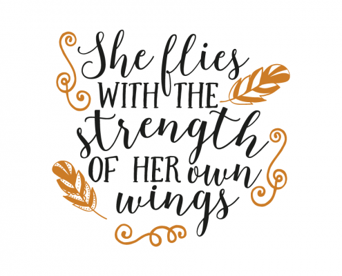 Free SVG cut file - She flies with the strength of her own wings