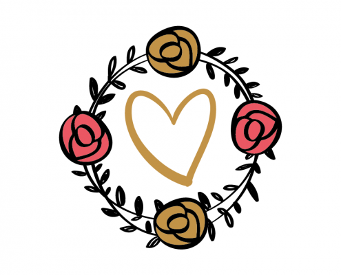 Free SVG cut file - Love Roses Wreath