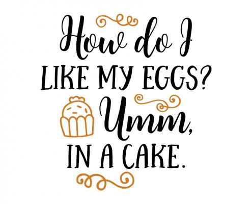 Free SVG cut file - How do i like my eggs umm in a cake