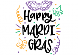 Free SVG cut file - Happy Mardi Gras