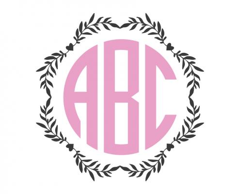 Free SVG cut file - Wreath Monogram Frame