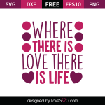 Free SVG cut files - Where there is love there is life