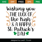 Free SVG cute file - Wishing you the luck of the Irish