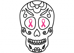 3102 Sugar Skull Cancer Ribbon
