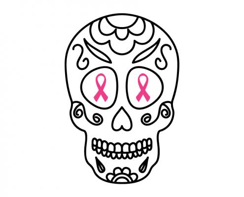 3102 Sugar Skull Cancer Ribbon