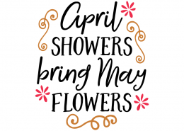 Free SVG cute file - April showers bring May Flowers