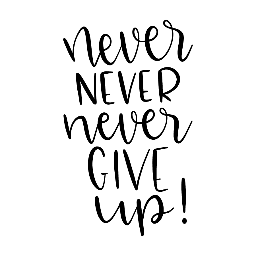 Never never never give up!