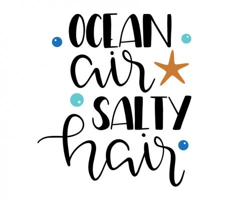 Free SVG cut files - Ocean air Salty Hair