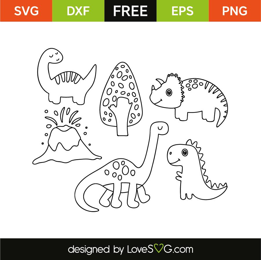 Dinosaurs Outline Lovesvgcom