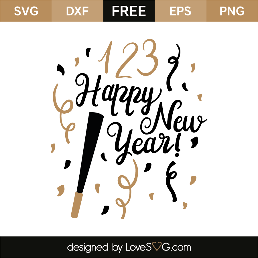 1 2 3 happy new year free svg eps dxf png files