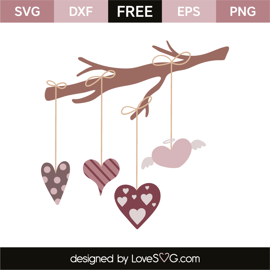 Valentine S Day Elements Branch And Hearts Lovesvg Com