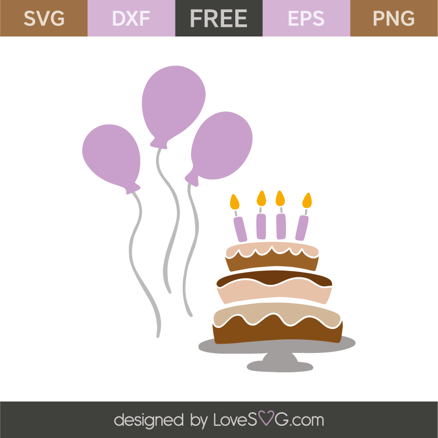 Birthday Balloons And Cake Lovesvg Com