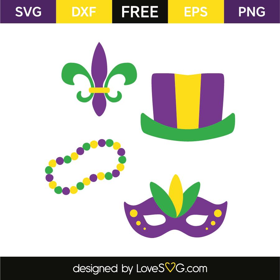 Mardi gras: Hat, beads necklace, mask & fleur de lis | Lovesvg.com