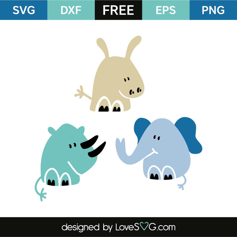 Rhinoceros - Hippo - Elephant | Lovesvg.com