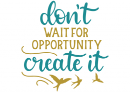 Don't wait for opportunity create it