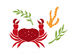 Crab and sea elements