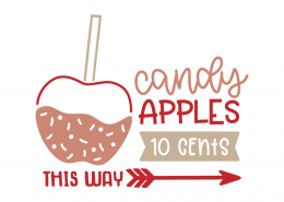 Candy apples 10 cents this way