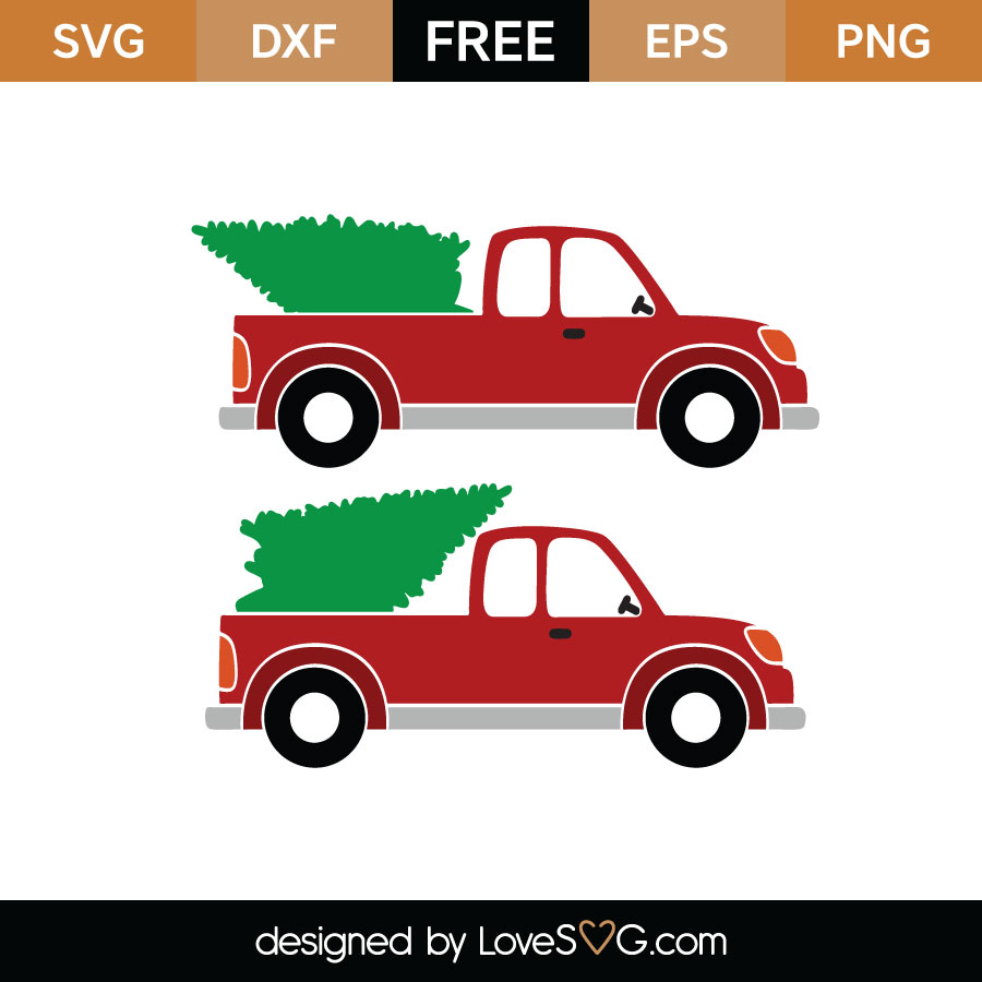 Christmas Tree Truck Svg Free.Christmas Tree And Pickup Truck Lovesvg Com