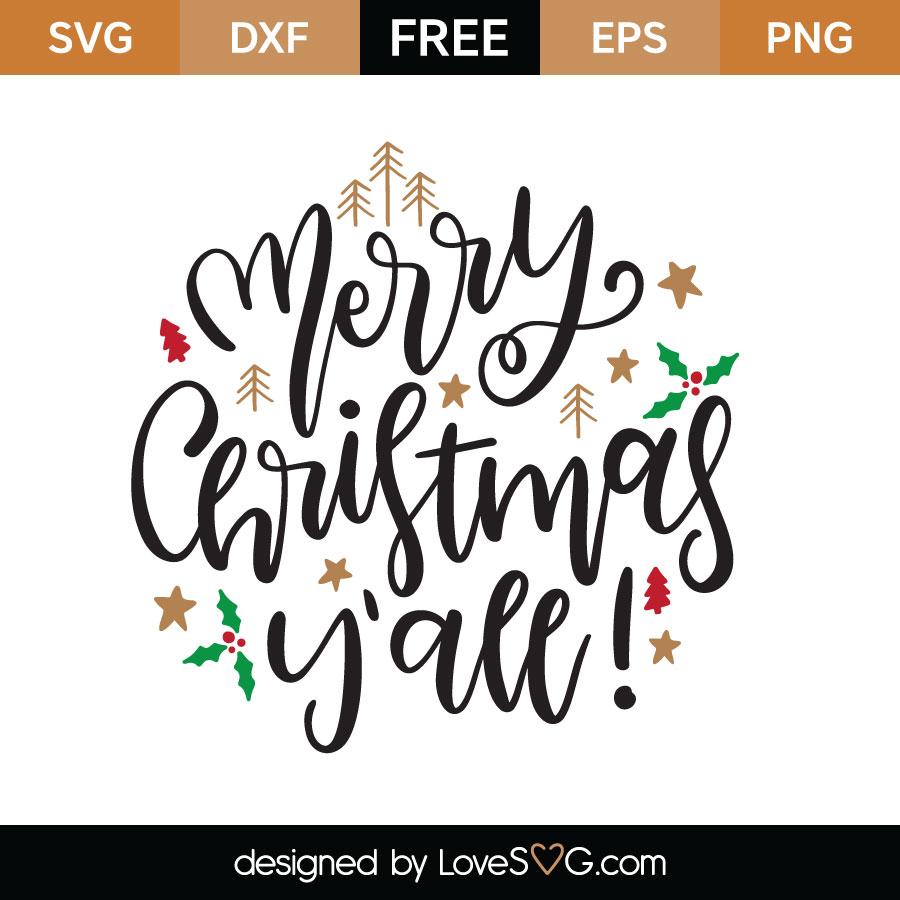 Merry Christmas Yall.Merry Christmas Y All Svg Cut File Lovesvg Com
