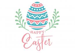 Free Happy Easter Egg Laurel SVG Cut File