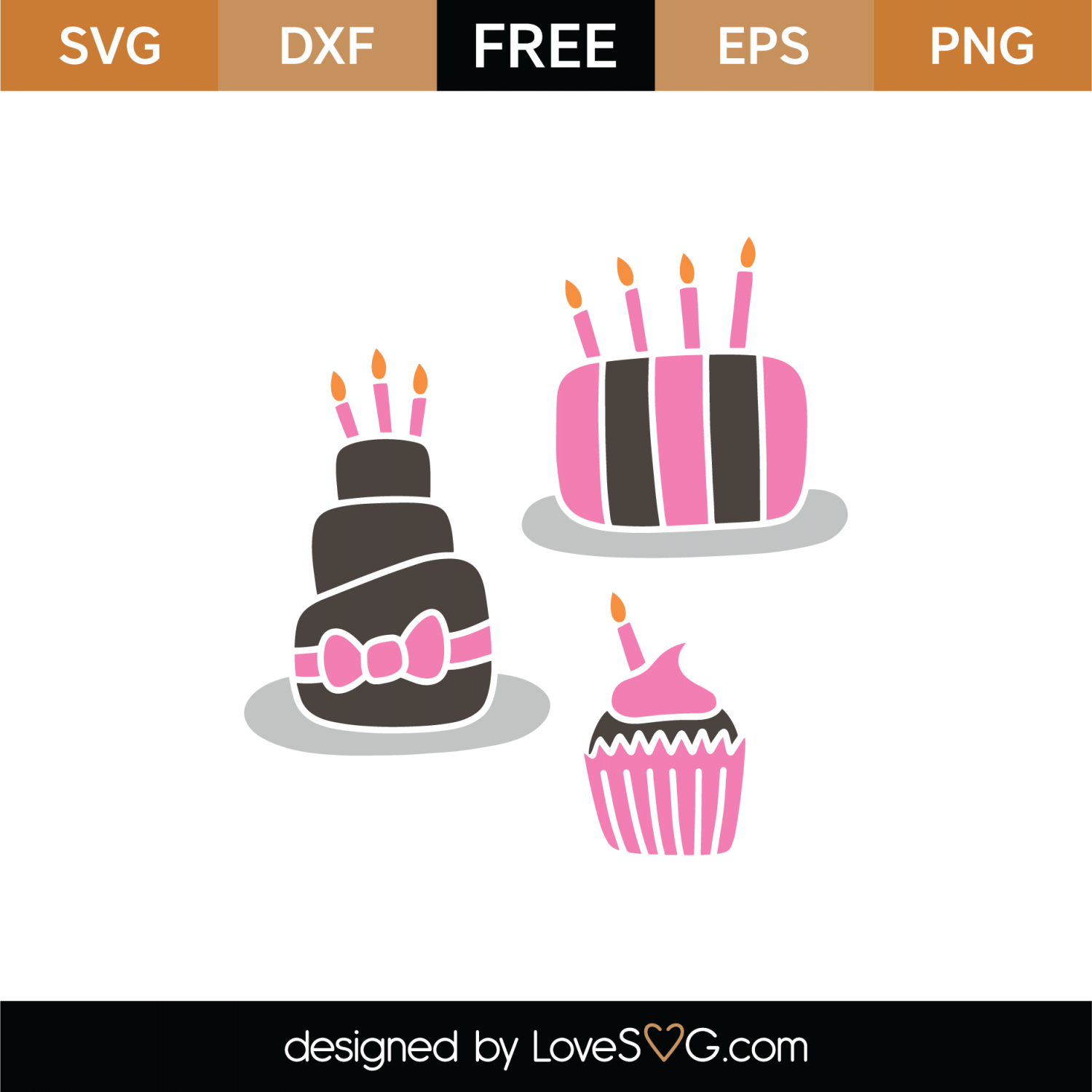 Free Birthday Cakes SVG Cut File