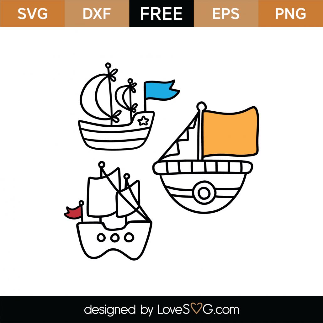 Coloring Boats SVG Cut File 8990