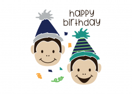 Happy Birthday Monkeys SVG Cut File 9108