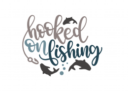 Hooked On Fishing SVG Cut File 8976