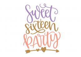 Sweet Sixteen Party SVG Cut File 8905