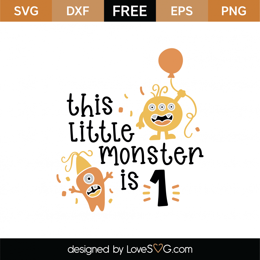 This Little Monster Is 1 SVG Cut File 8907