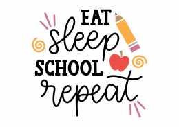Eat Sleep School Repeat SVG Cut File 9242