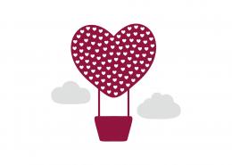 Love Air Balloon SVG Cut File 9027