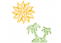 Decorative Sun and Palm Trees SVG Cut File 9448