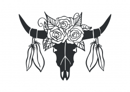 Floral Skull Bull SVG Cut File 9362