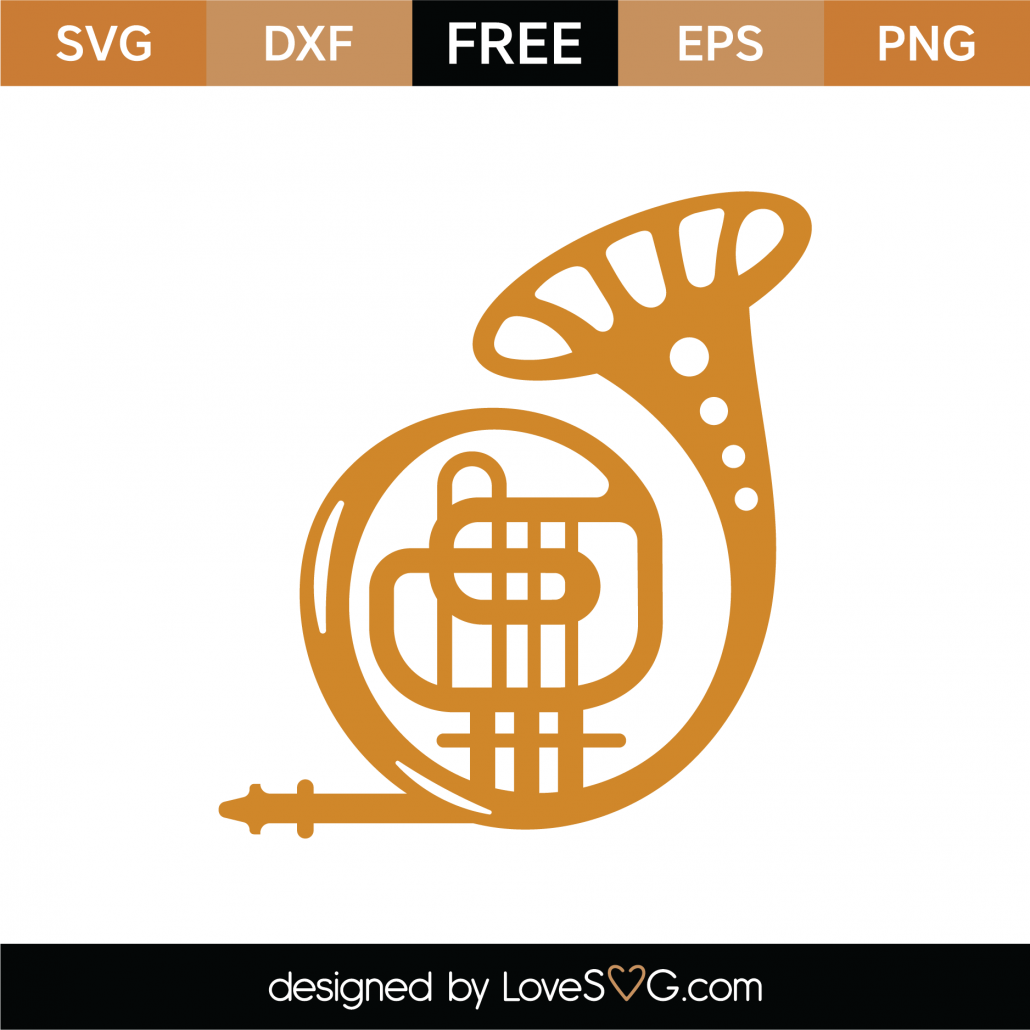 French Horn SVG Cut File 9315