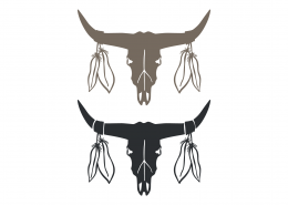 Skull Bulls SVG Cut File 9378