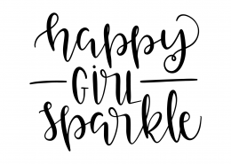 Happy Girl Sparkle SVG Cut File 9603