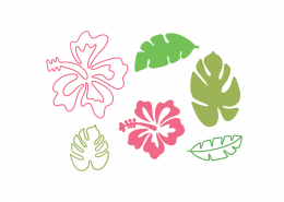 Tropical Flowers SVG Cut File 9498