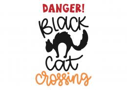 Danger Black Cat Crossing SVG Cut File 9785