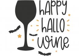 Happy Hallo Wine SVG Cut File 9802