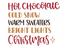 Hot Chocolate Christmas SVG Cut File 10007