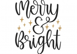 Merry and Bright SVG Cut File 9980