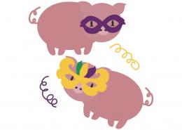 Mardi Gras Piglets SVG Cut File