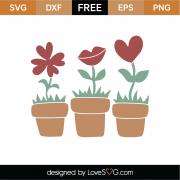 Red Flower Pots SVG Cut Files