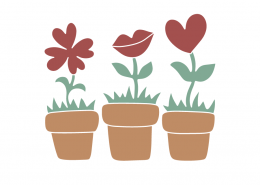 Red Flower Pots SVG Cut Files